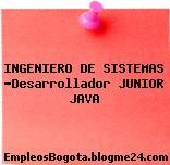 INGENIERO DE SISTEMAS -Desarrollador JUNIOR JAVA