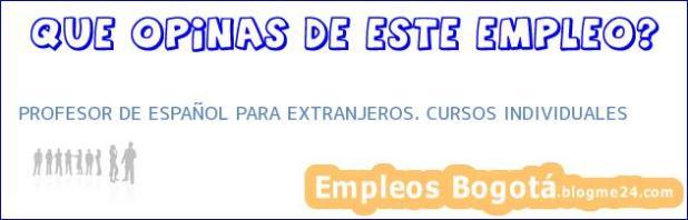 PROFESOR DE ESPAÑOL PARA EXTRANJEROS. CURSOS INDIVIDUALES