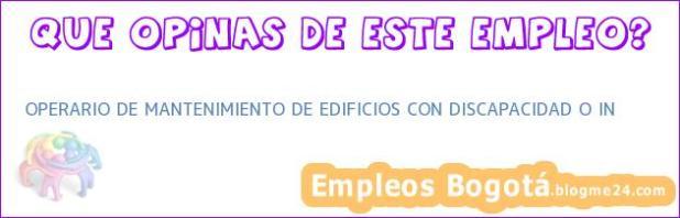 OPERARIO DE MANTENIMIENTO DE EDIFICIOS CON DISCAPACIDAD O IN