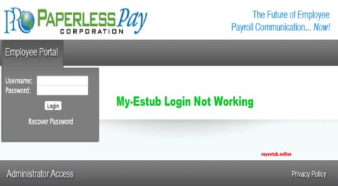 my-estub login not working