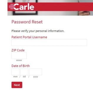 Carle Patient Portal Password Reset