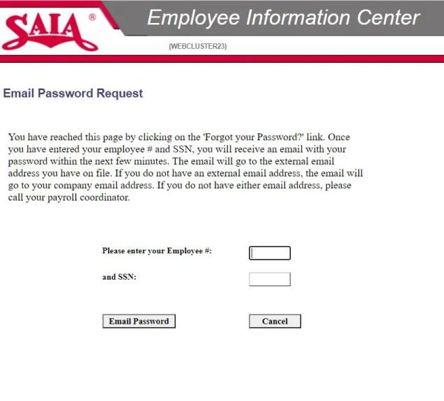 Saia employee login password reset steps