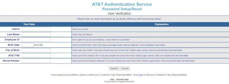 MyCSP AT&T Login Password Reset Process