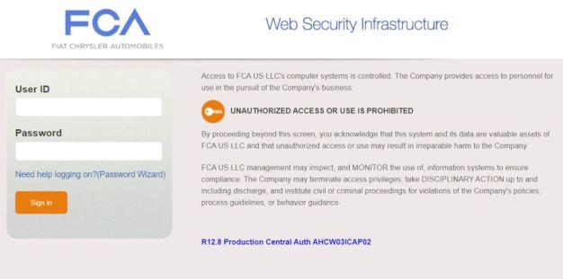 Dashboard Anywhere FCA employee login
