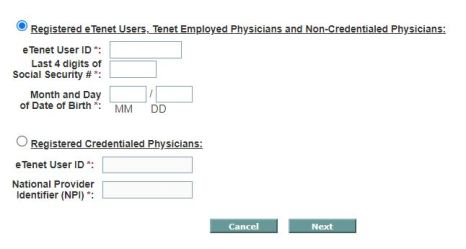 eTenet Portal Employee Login password reset