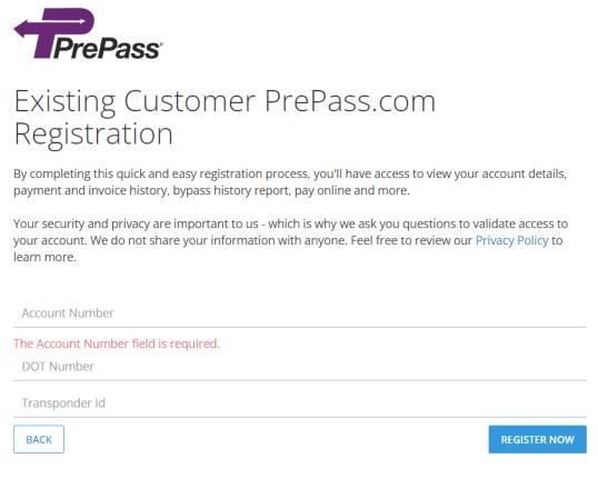 PrePass Portal Account Registration