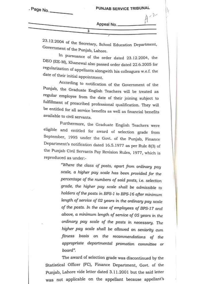 English Teacher Regularization Orders From Punjab Service Tribunal 2021