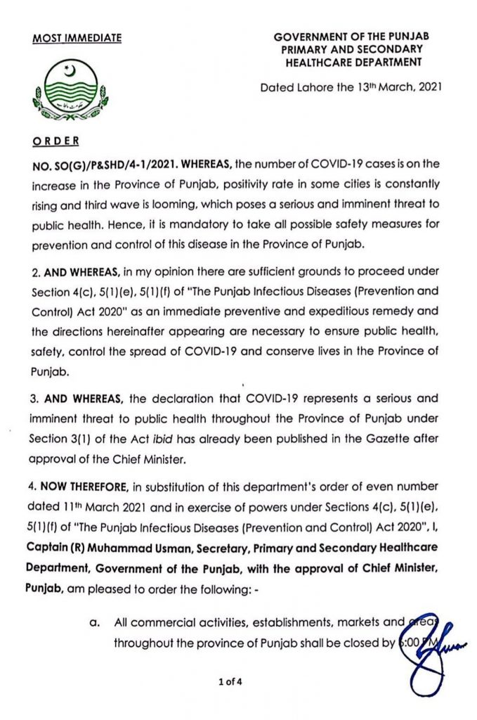 Punjab Govt Reimposes Restrictions in March 2021