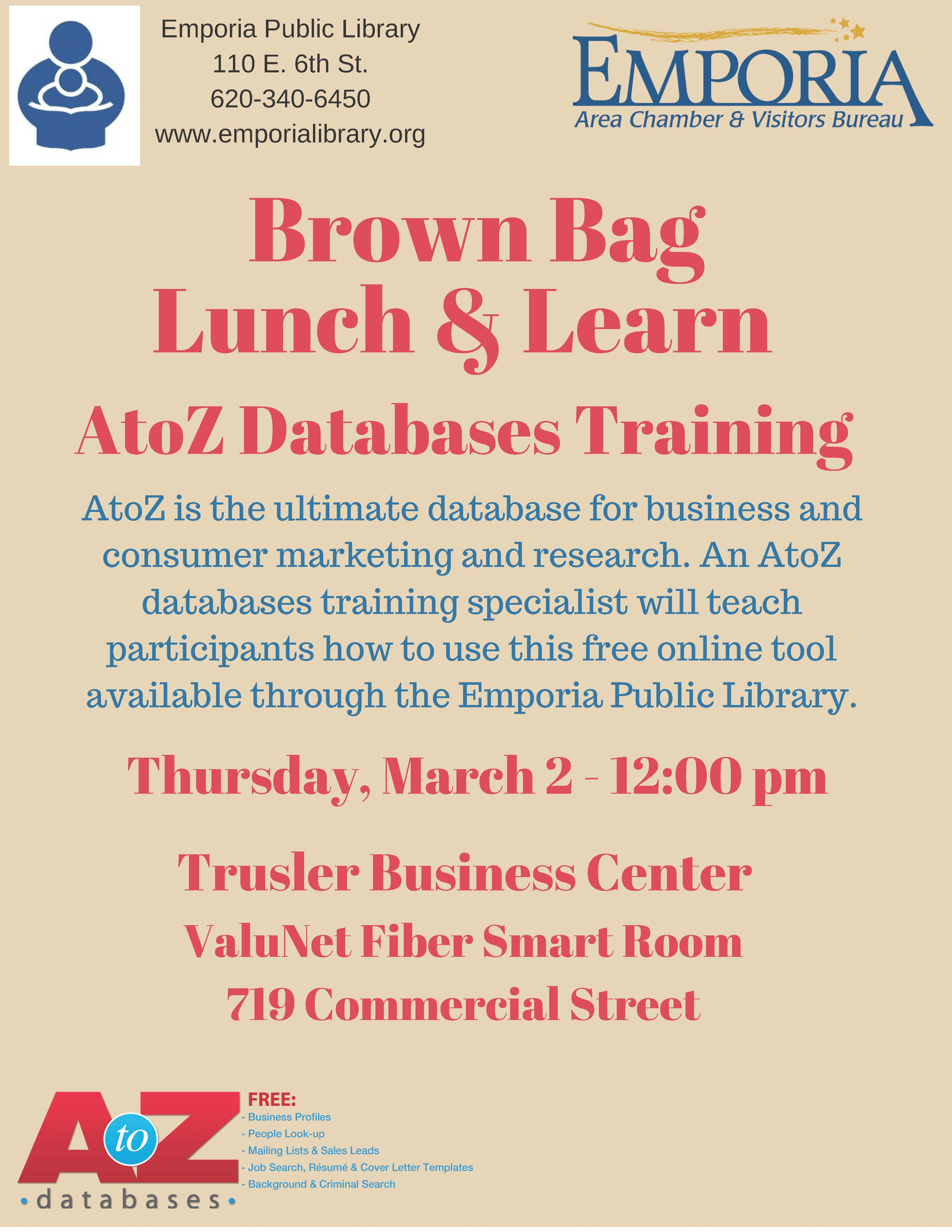 Brown Bag Lunch & Learn AtoZ Databases Training – Emporia Area ...
