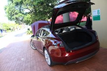 Rear view of Model S and its huge boot.
