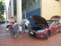 The level of interest from the public was high - probably the first time most of them had seen an electric car.