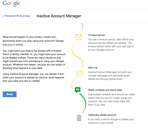 Inactive account manager van Google