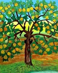 Le grand Figuier - œuvre de Fatma Chaîbi - Gouache.