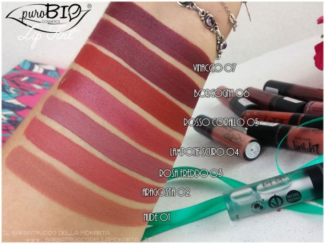 Liptint lipgloss purobio cosmetics swatches review makeup naturale