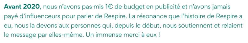 réponse de Respire sur le budget communication