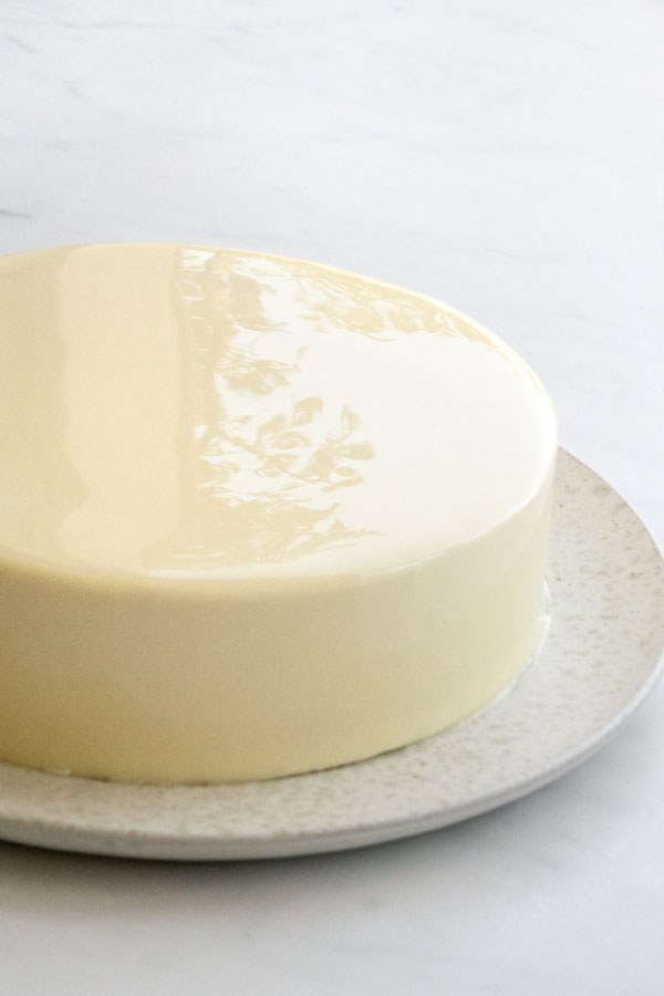 glacage miroir au chocolat blanc