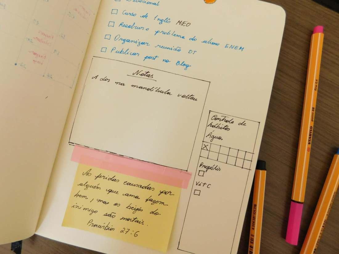 Bullet journal página mensal