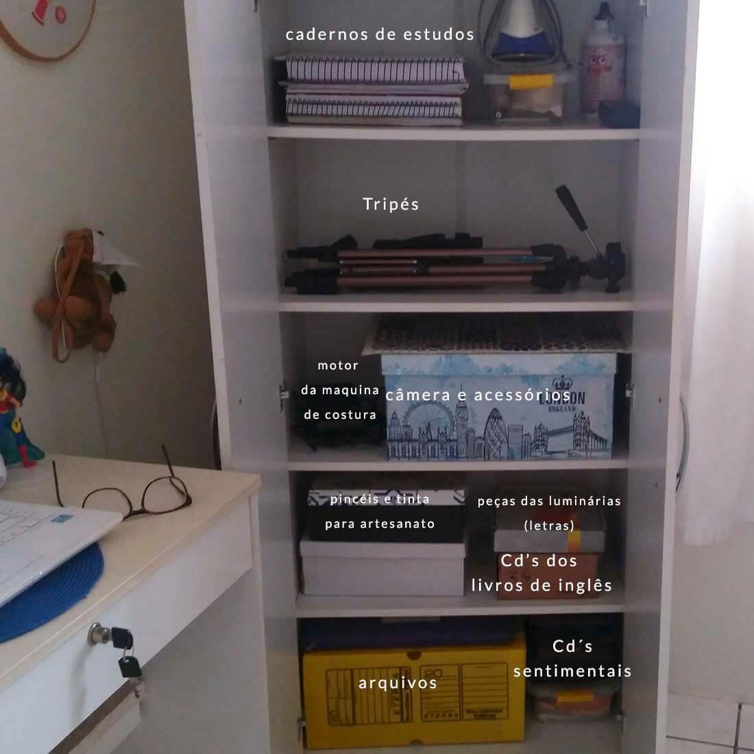 organização do armário do escritório