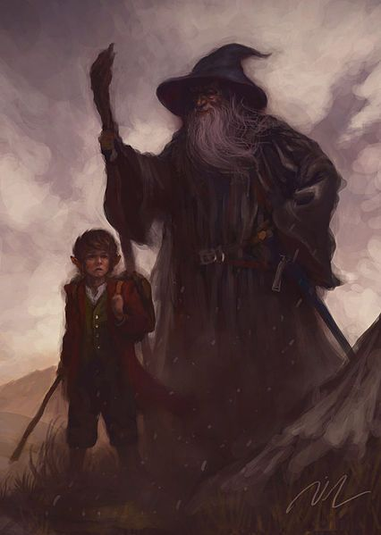 Over_Hill_-_Bilbo_and_Gandalf_by_Joel_Lee