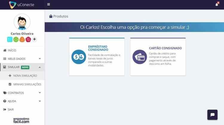 simulador de empréstimo consignado - tela com as opções de escolha de produtos