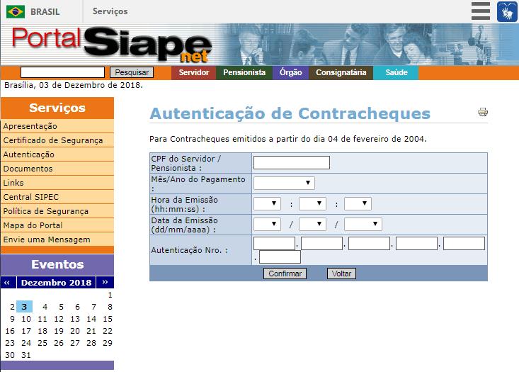 validação do contracheque Siape