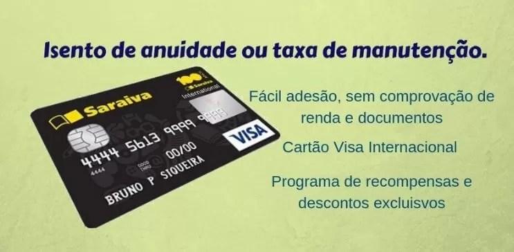 cartão de crédito sem anuidade saraiva