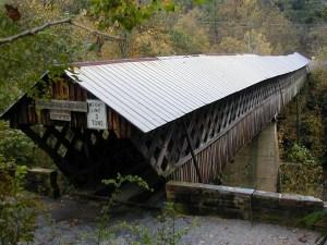 Horton Mill Covered Bridge spanning a deep ravine