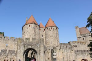 the outer wall of the Medieval city in Carcassonne