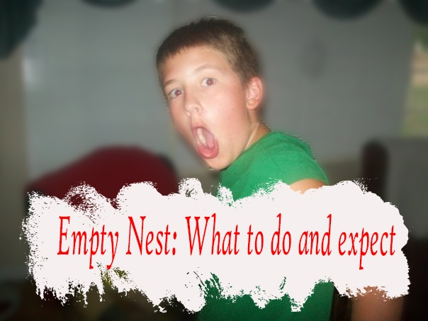 shocked boy with caption empty nest what to do and expect