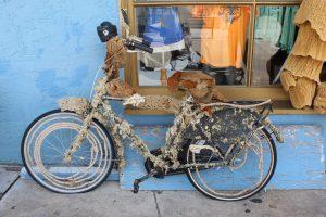 sea sponges decorate a bicycle in Tarpon Springs