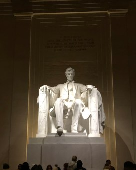 Lincoln Monument at night Lincoln in his chair