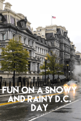 Rainy day fun, Eisenhower building, Washington D.C., snowy day, rainy day, travel