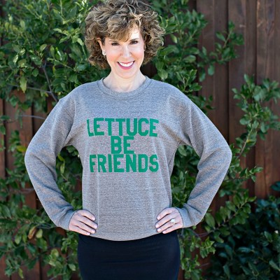 buzzword tee, graphic tee, lettuce be friends sweatshirt, graphic sweatshirt, empty nest, empty nester,
