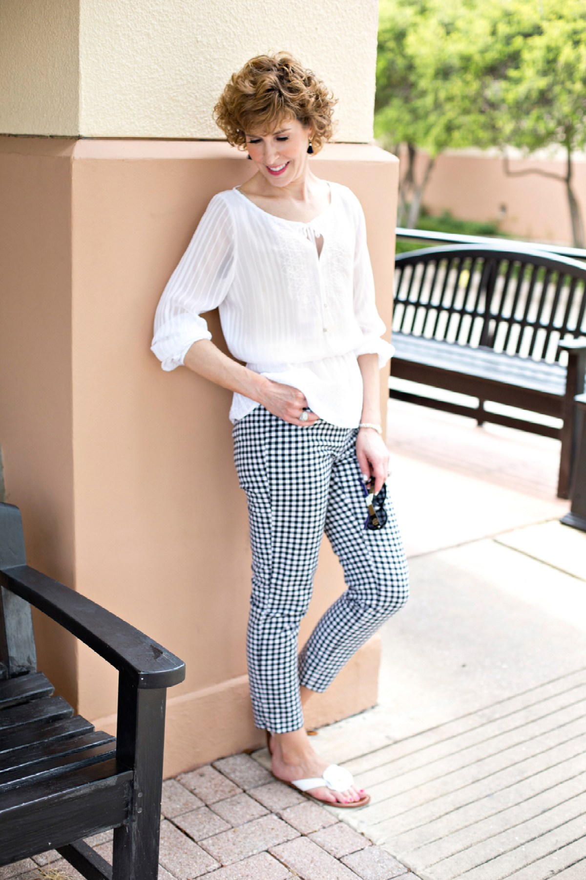 gingham trend, picnic print, how to wear gingham, fashion over fifty, empty nest, empty nester, midlife style