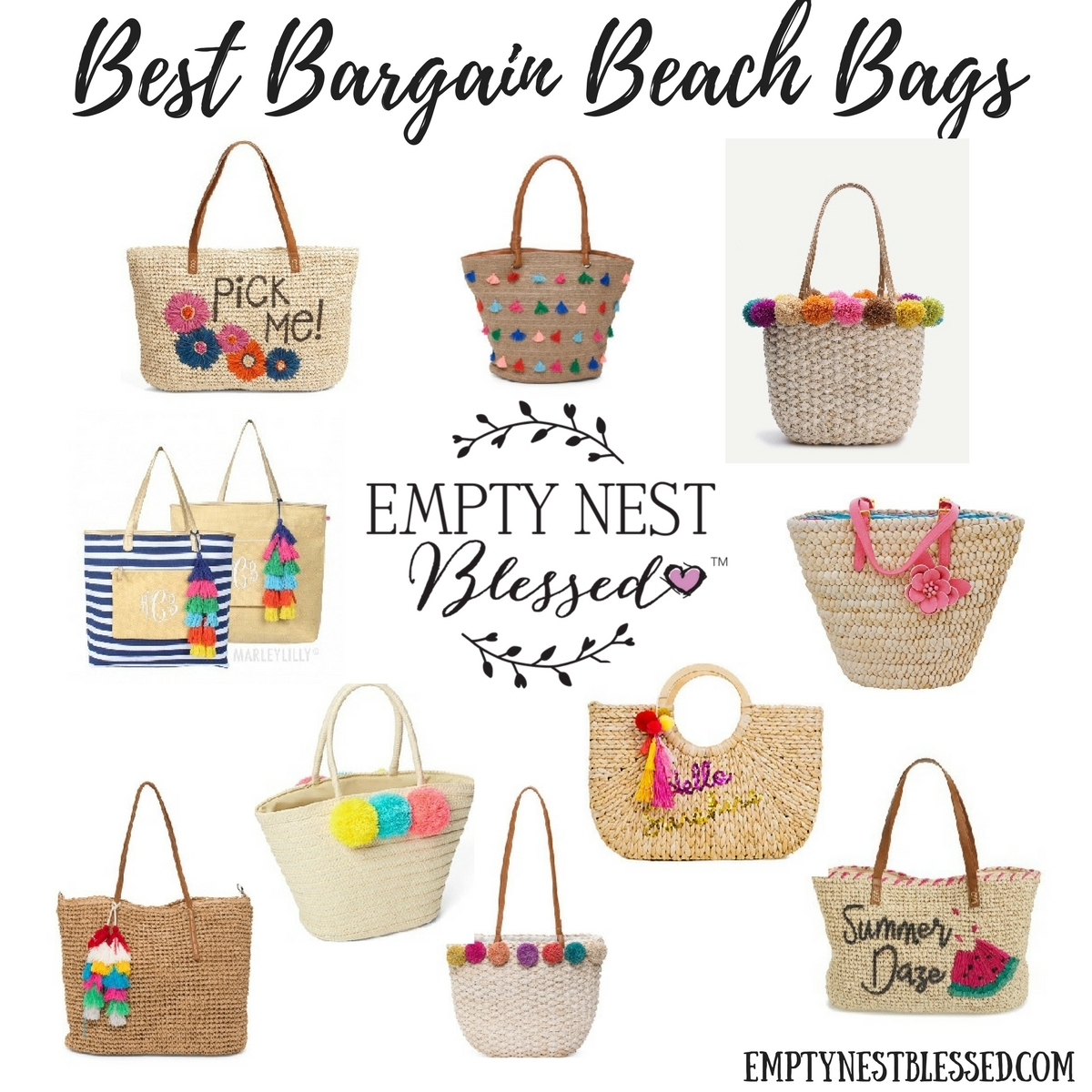 straw totes with poms, straw totes with tassels, bargain beach bags, cheap beach bags, cheap straw totes, bargain straw totes, summer handbags, straw totes
