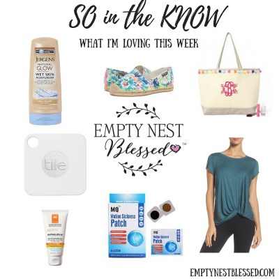 so in the know, Lilly Pulitzer espadrilles, jergens natural glow wet ksin moisturizer, Zella twist and breath slub tee, la roche posay anthelios melt in sunscreen, monogrammed pom pom tote, homeopathic motion sickness patch, tile tracker and locator