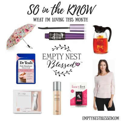 Kate Spade floral umbrella, Maybelline The Falsies Push Up Angel Washable Mascara, Primula fruit infusion pitcher, dr. teal's Pink Himalayan Mineral Soak, GloPro microneedling tool, dior airflash spray foundation, fancy feet blister blocker, whbm Drama Sleeve Pointelle Sweater, so in the know
