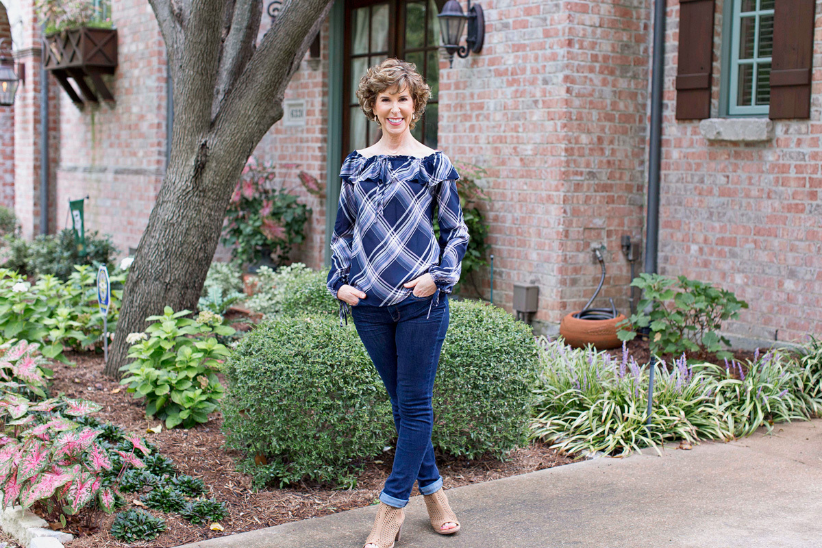 Fashion over fifty, trends, fall trends, over fifty fashion, style over fifty, over fifty style, over fifty fashion, fashion over 50 blog, fashion over 50, fashion over 50 photos, fashion over 50 2017, fashion over 50 fall, fashion for fifty and over, off the shoulder top, plaid off the shoulder top, whbm off the shoulder plaid blouse, tory burch gemini link tote, tory burch tote