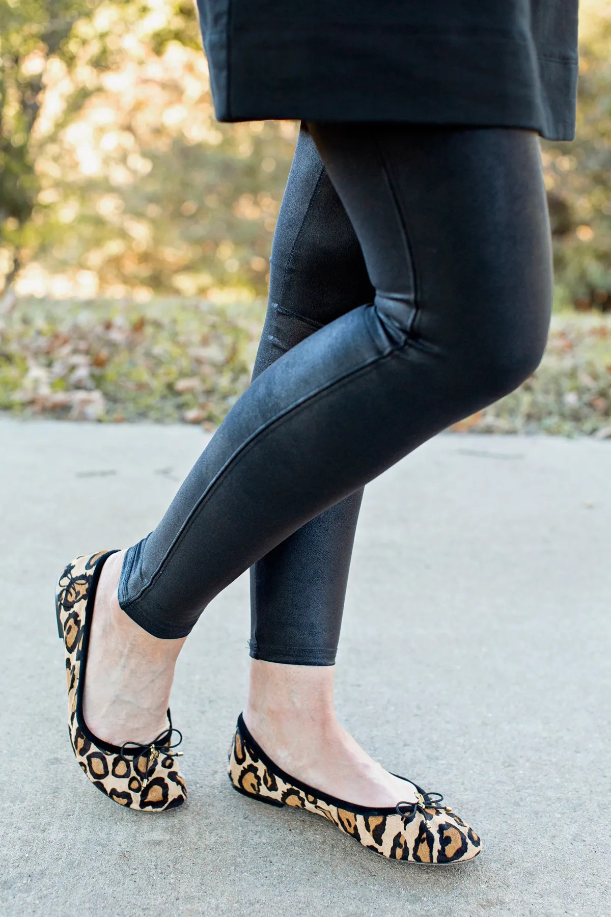black leggings leopard ballet flats