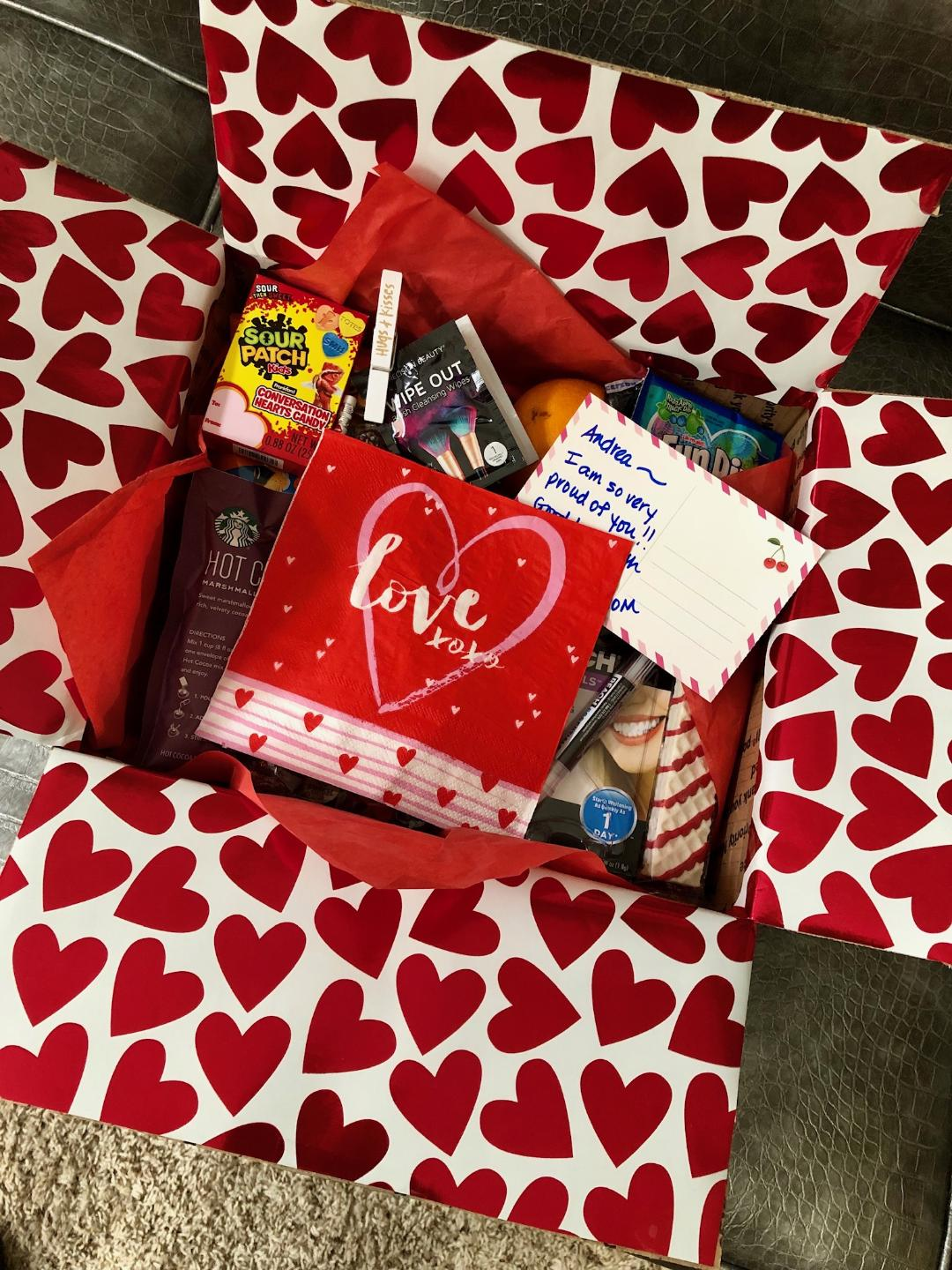 valentines gift box full of goodies