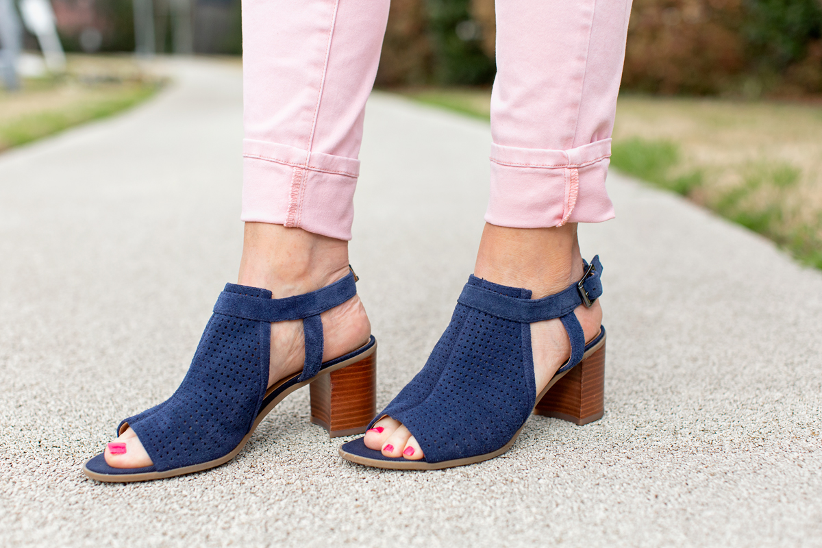 navy blue suede sandals