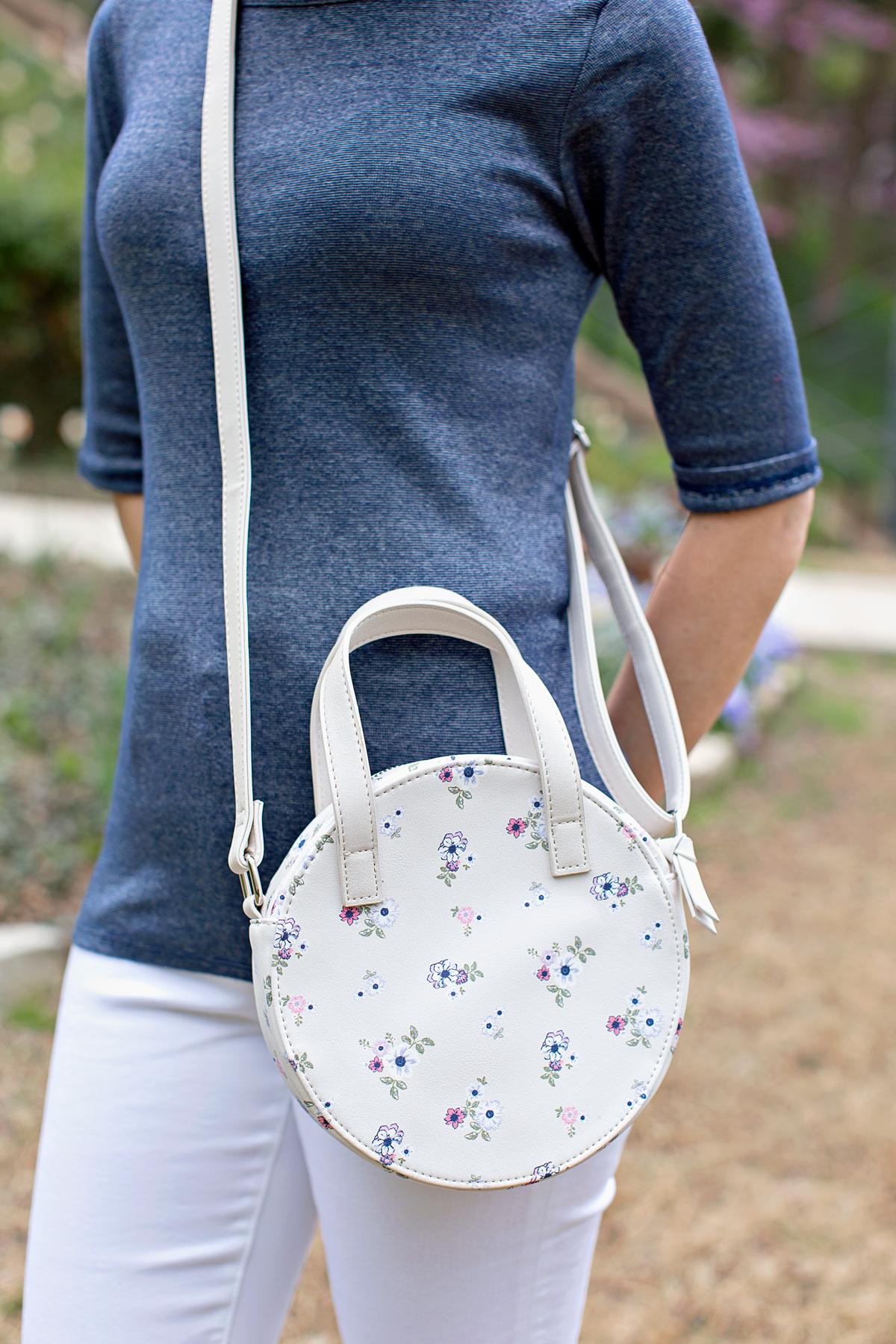 white floral circle crossbody bag