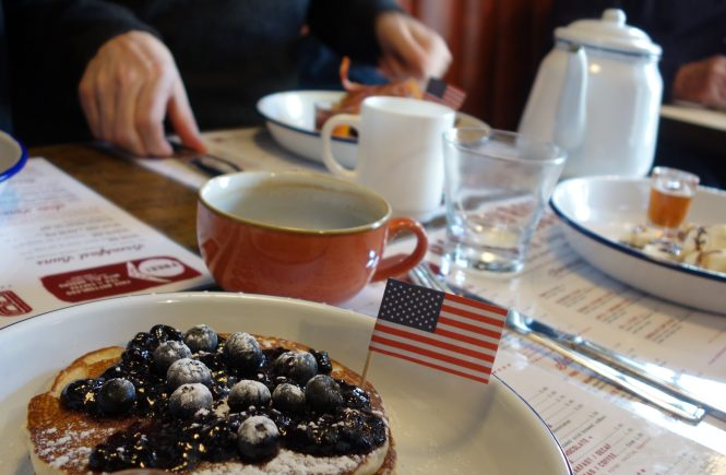 American pancakes with blueberry