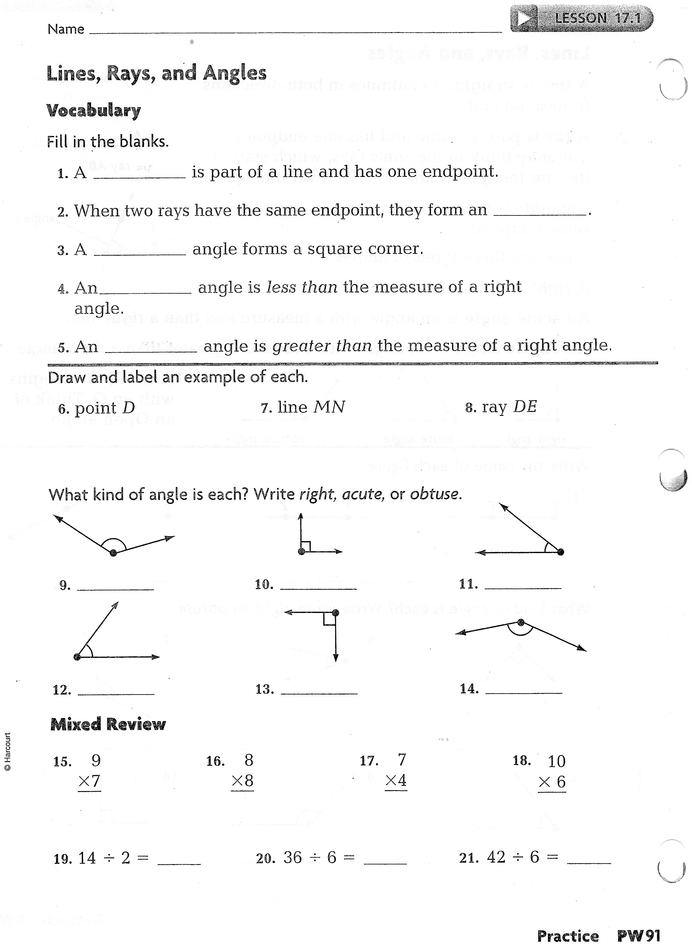 Intersecting Lines Worksheet Key