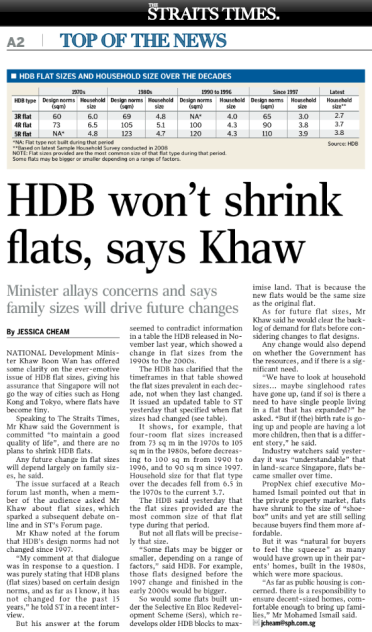 News extract - HDB not shrink