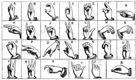 Engraving of manual alphabet or sign language
