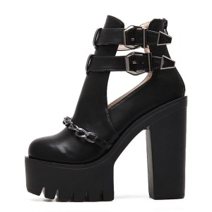 Platform Buckle & Chain Boot
