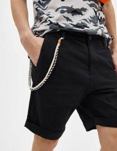Plus Size Black Leaf Print Tie Waist Shorts