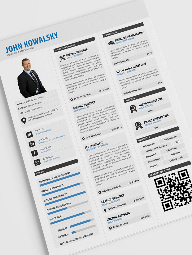 professional resume template psd pdf