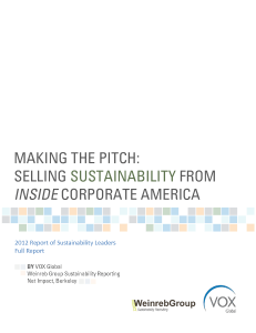 Making the Pitch: Selling Sustainability from Inside Corporate America